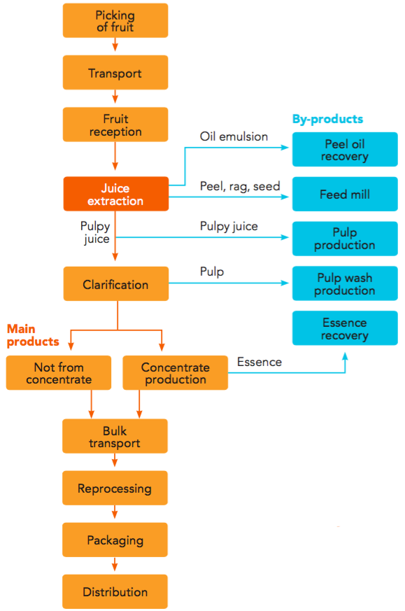 fruit processing | orange book process flow diagram orange juice