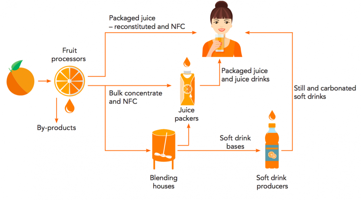 The supply chain and global consumption of    orange    juice